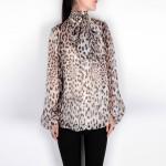 New 2016 spring summer brand fashion bow collar silk chiffon blouse women tops sexy animal leopard print lantern sleeve shirts