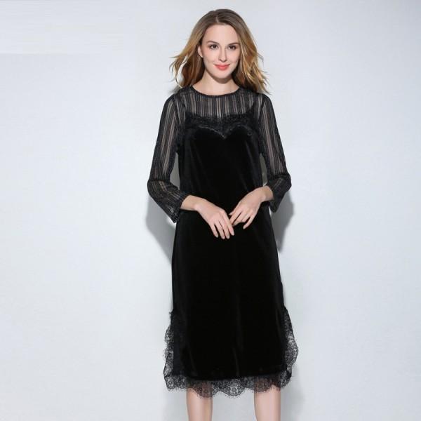 New 2017 Fashion Women plus size twinset gold velvet knee-length dress mesh tops+ lace hem tank dress plus size tunicXXXXXL3271