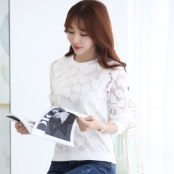 New 2017 Hot Sale Lace Blouses Shirt  Fashion elegant solid casual loose Chiffon shirts  Long Sleeved white top 883H 25