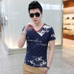 New 2017 Mens Short Sleeve T Shirts Abstract Style Print Casual Slim Fit Cotton T-Shirts Tees Top Quality Plus Size:S-5XL T312
