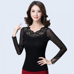 New 2017 Spring  Korean women Tops Fashion gauze hollow lace crochet Women blouse shirt  long-sleeved thin Mesh Blouse