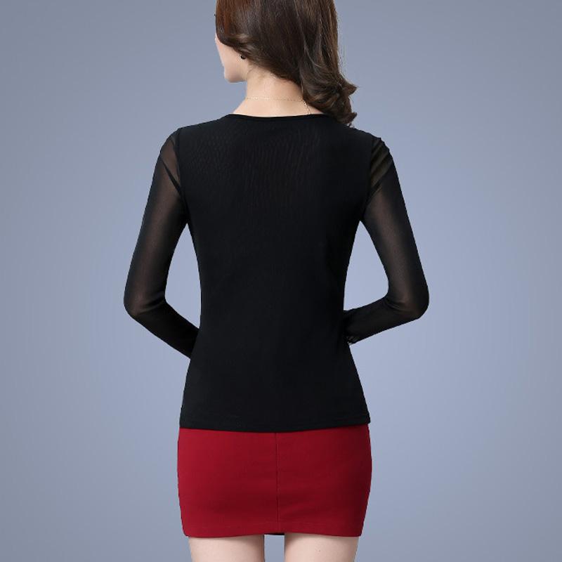 ff4befaded4 New 2017 Spring Korean women Tops Fashion gauze hollow lace crochet Women  blouse shirt long-sleeved thin Mesh Blouse