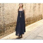 New 2017 summer cotton linen fake two piece loose strap dress Sleeveless vintage dresses for female 86120