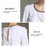 New 2017 women's chiffon blouse shirts irregular length metal chain collar blusa feminina elegant  pullover tops camisa  white
