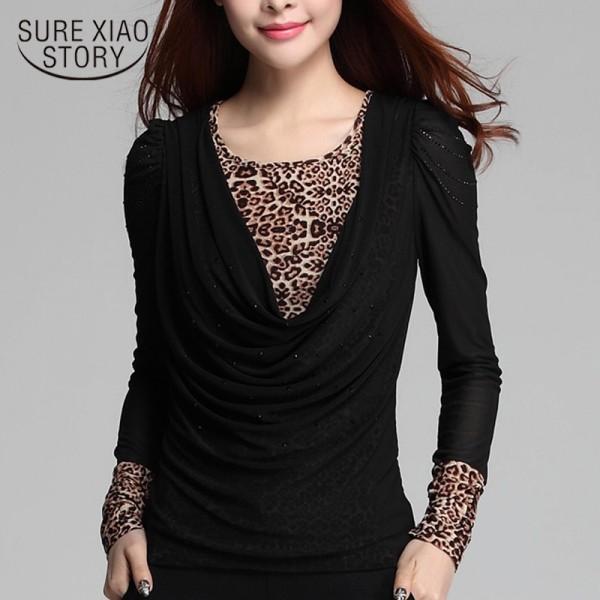 New 2018 Spring Autumn Fashion Women Blouses Shirt  Large Size Female Long Sleeve  Plus Size Female Blouse Tops Blusas 10D 25