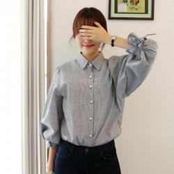 New 2018 Spring Fashion Three-quarter Bow Lantern Sleeve Blusa Korean College Style Elegant Stripes Lolita Shirt Blouse Women