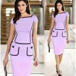 New 2018 Women Dress Pocket Design Office Work Wear Dress Short Sleeve Dress Formal Vintage Pencil Dress Blue Knee-length  L92