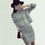 New Arrival 2 Piece Set Wool Knit Women Dress Autumn Winter Party Dresses Gray&Red Sexy Club Dress Long Sleeve Slim Elbise