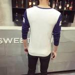 New Arrival 2017 T Shirt Man Cotton T-shirt Man Full Sleeve Shirt V Neck Splice Style T-shirt Men In Black Fashion Tops