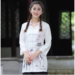 New Arrival Chinese Traditional Women Cotton Linen Shirt Spring Summer Vintage Flower Blouse Tops S M L XL XL XXL XXXL 2620