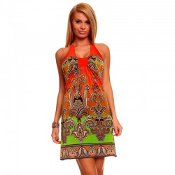 New Arrival Sexy Fashion Summer Casual Printed Beach Dress With Strap Beachwear Neon Dress  4144