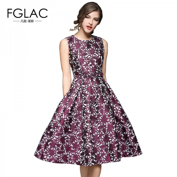 New Arrivals 2017 Spring Summer women dress Elegant Slim Sleeveless Jacquard party dress European style Vintage dress