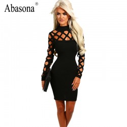 New Autumn Fashion Hollow out Long Bandage Sleeve Elegant Women Dress Back Cut out Sexy Party Night Club Wear