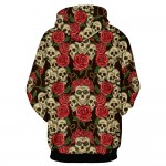 New Autumn Winter Fashion Men/women Hooded Hoodies Print Roses Flowers Skulls 3d Sweatshirt With Cap Hoody Tops
