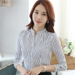 New Fall 2016 Fashion Korean Style Women Blouses Office Formal Clothes for Female OL Black White Slim Plus Size Tops 880C 25