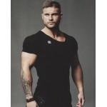 New Fashion Brand Trend Print Slim Fit Short Sleeve T Shirt Men Tee V-Neck Casual Fitness T-Shirt Gyms bodybuilding Clothing