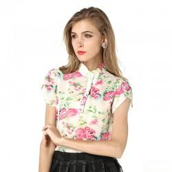 New Fashion Summer Women Blouses New Printed Flowers Chiffon Short Sleeve Shirts Plus Size S-XXL Female Clothings Good Quality