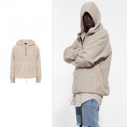 New High Quality Hoodie Men Half Zipper Pullover Fleece Sweatshirt Streetwear Kanye West Hip Hop Clothing Justin Bieber Outwear