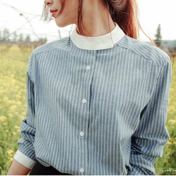 New Korean Style Fashion Long Sleeve Striped Blouse 2016 Plus Size Women Blouses and Shirts Vetement Femme
