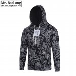 New Men's Bandana Hip Hop Hoodies and Sweatshirts Men Autumn Sudadera Hombre Paisley Black Sweat Homme Pullover Brand Clothes