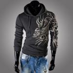 New Original 2016 Dragon Printing Fleece Men's Hooded Fleece of Casual Loose Hooded Sweatshirt Coat Men's Clothing
