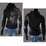 New Original 2016 Dragon Printing Fleece Men's Hooded Fleece of Casual Loose Hooded Sweatshirt Coat Men's Clothing