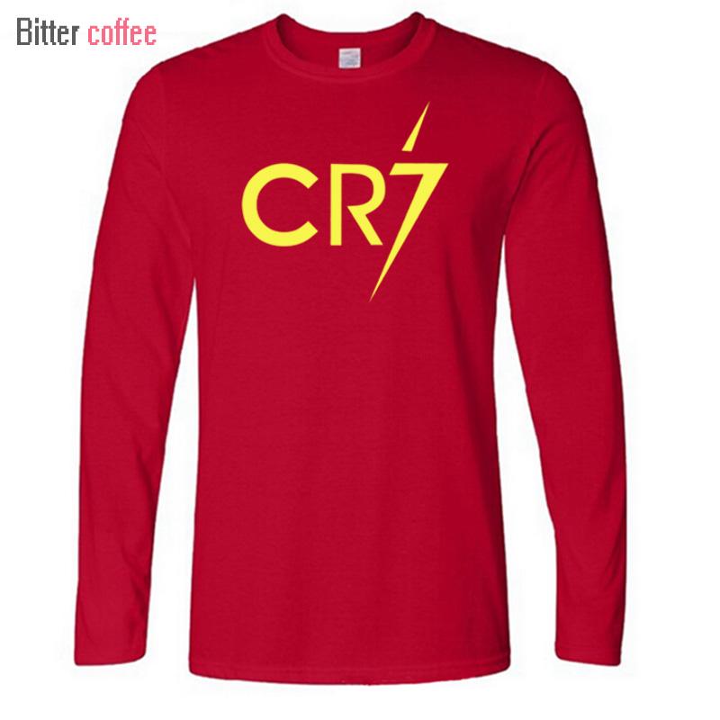watch 9eca4 b4b8b New Ronaldo Long Sleeve Men's Long Sleeve T-Shirt printing CR7 Cotton T  Shirts Mens