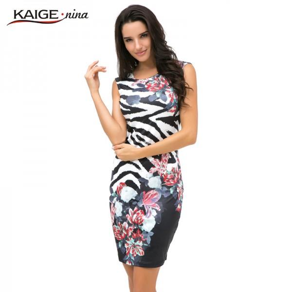 New Sale Womens Summer Elegant Tartan floral print leopard Tunic Wear To Work Business Casual Party Pencil Sheath Dress 2183