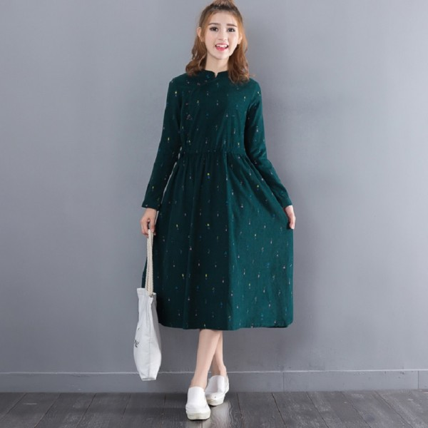 New Spring Autumn Mori Girl Maxi Long Dress Stand Collar Corduroy Women Green Vestidos Full Sleeve Printed Elegnat Slim Dresses