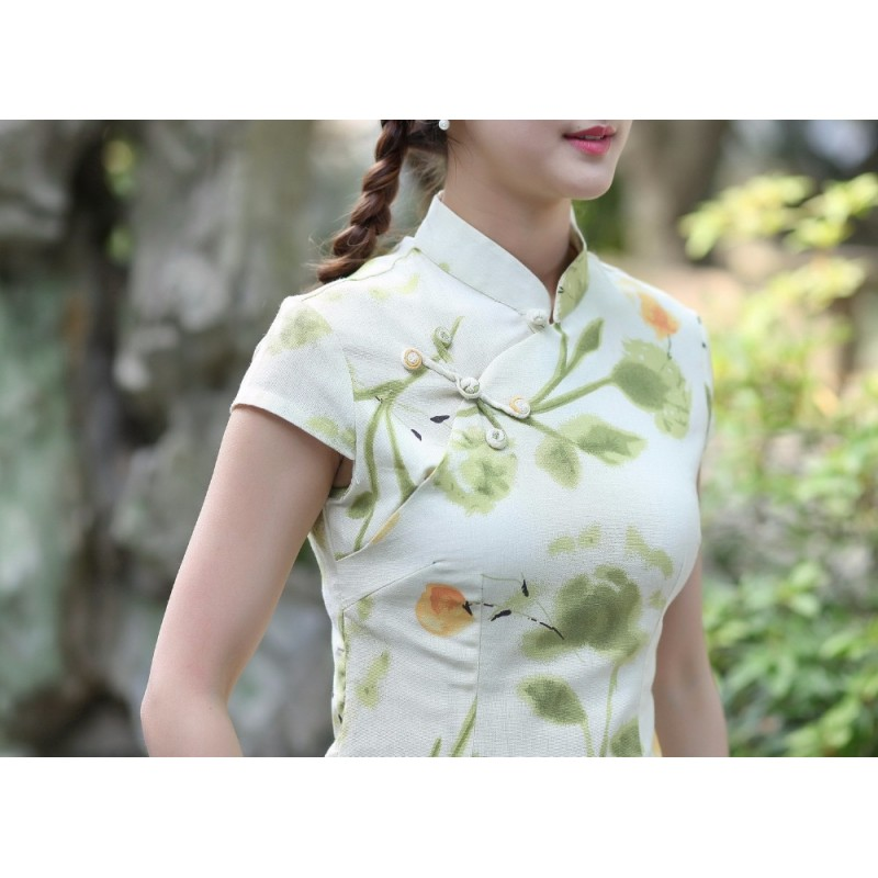 88ba217026 New Style Flower Feminina Camisa Women s Summer Cotton Linen Blouse Novelty  Button Short Sleeve Shirt S M L XL XXL XXXL 2518