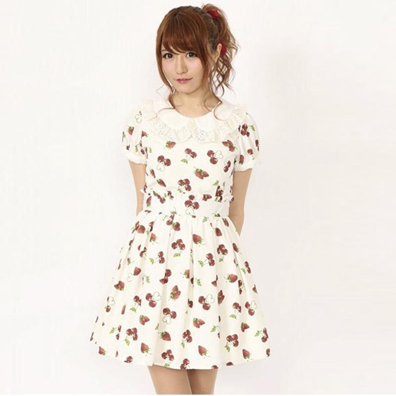 New Summer Lolita Pink Strawberry Cherry Dress Chiffon Fashion Cute Lovely  Preppy Style Female Kawaii Women Japan Brand dresses