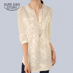 New V-neck Organza Embroidered Shirt White Lace Blouse Top Plus Size Summer Korean Women Blouse Flower Print Blouse  566F 25