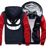 New Winter Jackets and Coats Pocket Monsters Anime Pokemon Pikachu  Hooded Thick Zipper Men Sweatshirts brand thicken hoody suit