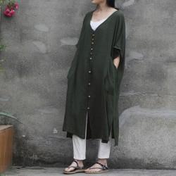 New Women Linen Raglan Short Sleeve Dress Literary 2018 Summer V Neck Single Breasted Cardigan Robe Loose Plus Size Casual Dress