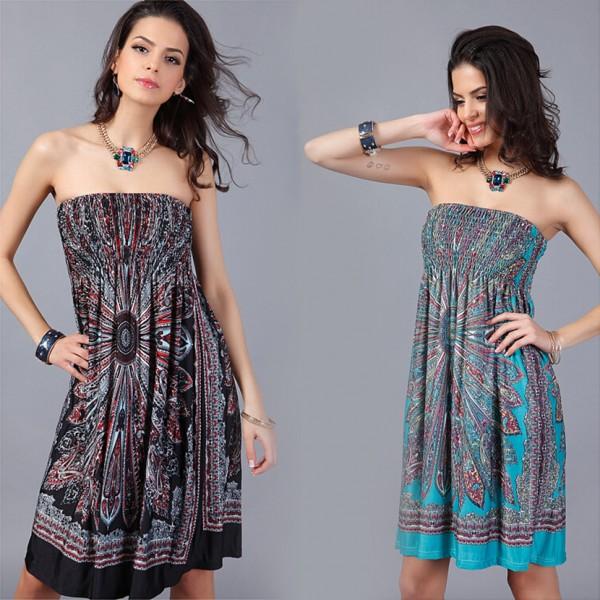New Women Strapless Dress 2016 Floral Print Sexy Beach Dress Plus Size Bamboo Fiber Retro Bohemina Summer Sundress Women Dress