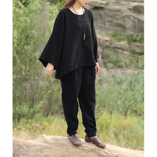 New Women spring autumn red black white cotton linen vintage shirts O-neck large size tops & blouses plus size Clothing Camisas
