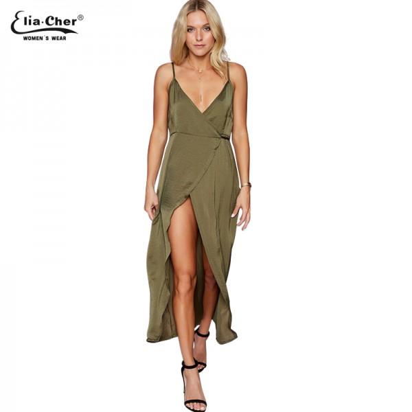 New Womens Khaki Spaghetti Strap Silk Dress Eliacher Brand Casual