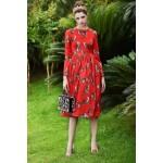 New arrival 2016 Designer Runway Dress High Quality Women's Long Sleeve Sexy Cat Print Dress