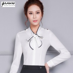 New elegant bow formal women shirt OL spring high quality long sleeve choffin blouse office ladies plus size work wear slim tops