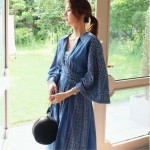 New retro blue long dress V-neck sweet vintage loose slim maxi blue dress printing elegant holiday long dress Korea style dress