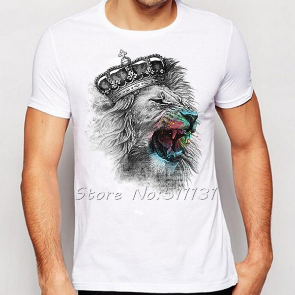 Newest Fashion Cool Crown Lion Printed T-Shirt Summer trendy Mens Hip Hop Short Sleeve Tee Tops Clothing Plus Size S-XXXL