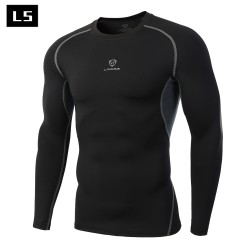 Newest Fitness Men Long Sleeve Exercise Casual T Shirt Men Thermal Muscle Bodybuilding Compression Tights Shirt Skins Gear Cool