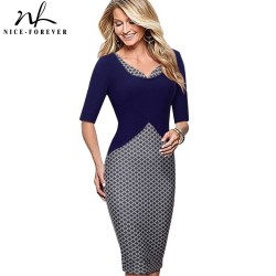 Nice-forever Elegant Lady Grid Stylish Casual Work Half Sleeve Mature V-Neck Bodycon Slim Women Office Pencil Women Dress B324