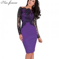 Nice-forever Off-Shoulder Gorgeous Vintage Dress Sexy Slash Neck Lace Top Long Sleeve Zipper Club wear Casual Pencil dress 803