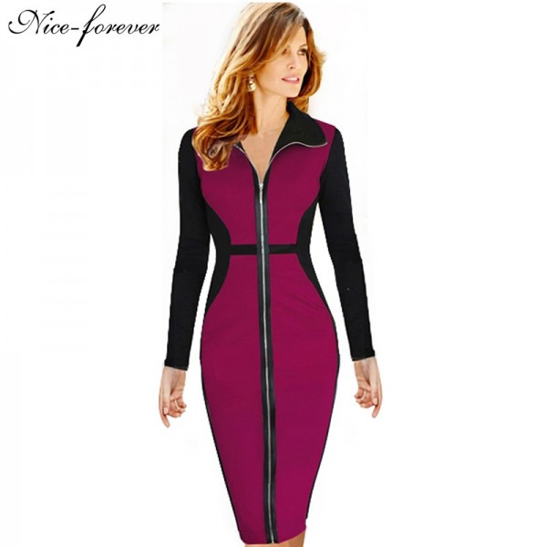 Nice-forever Plus Size Vintage Dress Winter full Sleeve Illusion Patchwork Women office work Bodycon Business Midi Dress B09