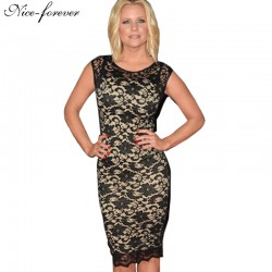 Nice-forever Pop Stylish Floral Black Lace White Lining Patchwork One-piece Elegant Sleeveless Bodycon Pencil Women Dress S09