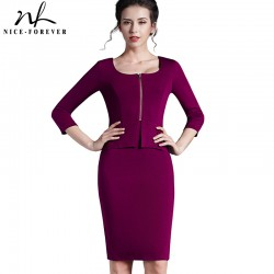 Nice-forever Vintage work 5XL Women Tunic Pencil Dress charming 3/4 sleeve office dress elegant knee length bandage dress 898