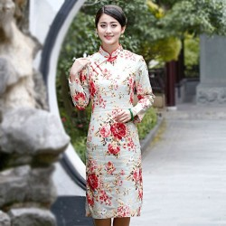 Novelty Stylish Chinese Style Dress Ladies' Cheongsam Elegant Slim Linen Cotton Knee-Length Qipao Size S M L XL XXL XXXL 2528-1