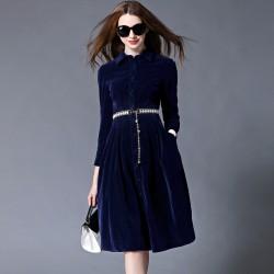 OL Style Blue Velvet Dress Winter Dresses Women 2017 Vestido Longo Woman Long Sleeve Office Dress Ropa Mujer Robe Longue 732102