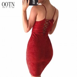 OOTN Female Summer Dresses Sexy Club Lace Up Women Strap Sleeveless Tunic Evening Autumn Suede Dress Slip Sheath Sundress Red